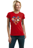 Ladies Red Tennessee Icon Heart - Tennessee Love Pride Culture Symbols Cute T-shirt