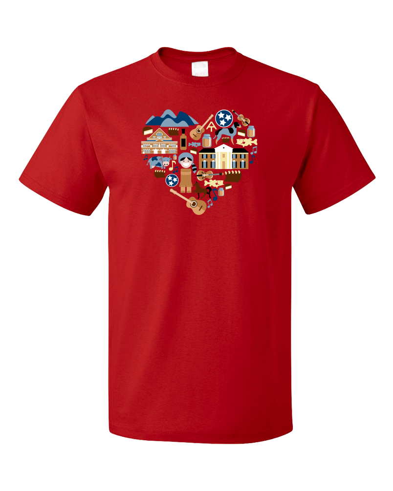 Standard Red Tennessee Icon Heart - Tennessee Love Pride Culture Symbols Cute T-shirt