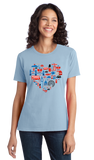 Ladies Light Blue UK Icon Heart - UK Love Pride Culture Symbols Cute Fun Royal T-shirt
