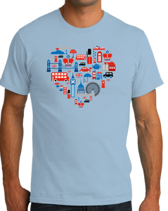 Standard Light Blue UK Icon Heart - UK Love Pride Culture Symbols Cute Fun Royal T-shirt
