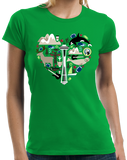 Ladies Green Washington Icon Heart - Washington Love Pride Culture State Cute T-shirt
