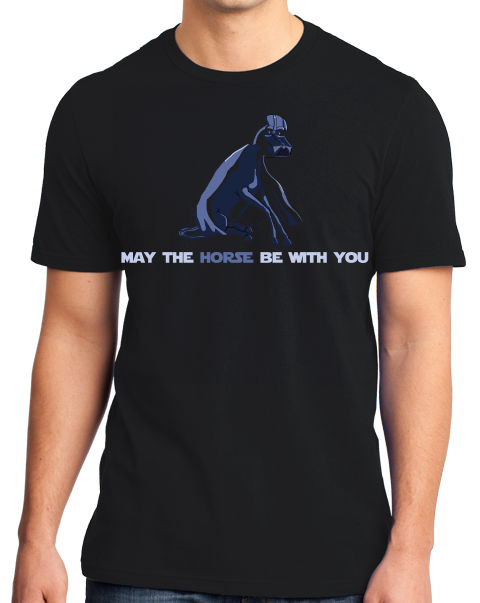 Standard Black May The Horse Be With You - Horseback Riding Star Wars Pun Funny T-shirt