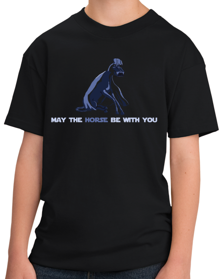 Youth Black May The Horse Be With You - Horseback Riding Star Wars Pun Funny T-shirt