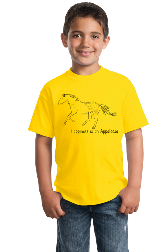 Youth Yellow Happiness is an Appaloosa - Horse Lover Favorite Breed Appaloosa T-shirt