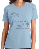Ladies Light Blue Happiness is a Friesian - Horse Lover Favorite Breed Friesian T-shirt