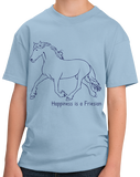 Youth Light Blue Happiness is a Friesian - Horse Lover Favorite Breed Friesian T-shirt