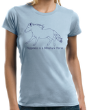 Ladies Light Blue Happiness is a Miniature - Horse Lover Favorite Miniature Cute T-shirt