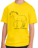 Youth Yellow Happiness is a Mustang - Horse Lover Favorite Breed Mustang Cute T-shirt