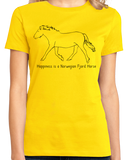 Ladies Yellow Happiness is a Norwegian Fjord - Horse Love Favorite Breed Fjord T-shirt