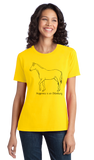 Ladies Yellow Happiness is an Oldenburg - Horse Love Warmblood Oldenburg Breed T-shirt