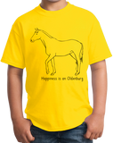 Youth Yellow Happiness is an Oldenburg - Horse Love Warmblood Oldenburg Breed T-shirt