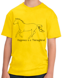 Youth Yellow Happiness is a Thoroughbred - Horse Lover Bloodhorse Favorite T-shirt