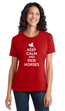 Ladies Red KEEP CALM AND RIDE HORSES T-shirt