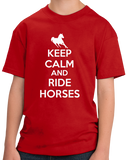 Youth Red KEEP CALM AND RIDE HORSES T-shirt