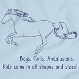 Boys, Girls, & Andalusians = Kids | Horse Lover Light blue art preview