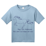 Youth Light Blue Boys, Girls, & Andalusians = Kids - Horse Family Love Andalusian T-shirt