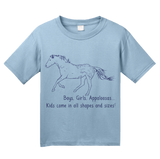 Youth Light Blue Boys, Girls, & Appaloosas = Kids - Horse Family Love Appaloosas T-shirt