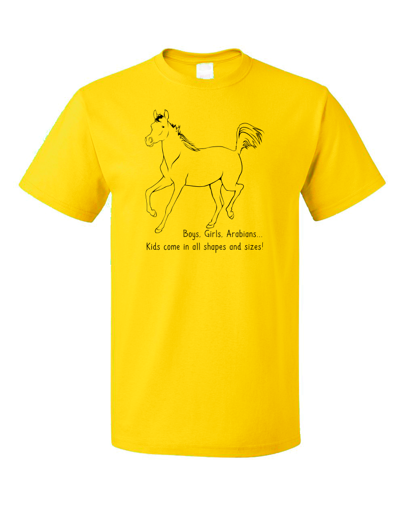 Standard Yellow Boys, Girls, & Arabians = Kids - Horse Family Love Arabian Cute T-shirt