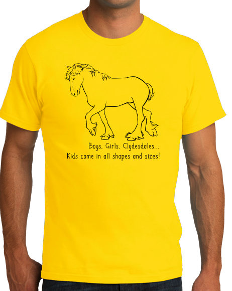Standard Yellow Boys, Girls, & Clydesdales = Kids - Horse Family Love Clydesdale T-shirt
