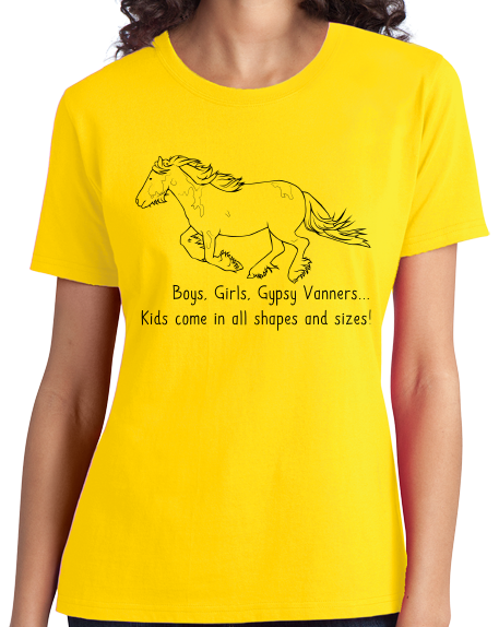 Ladies Yellow Boys, Girls, & Gypsy Vanners = Kids - Horse Family Gypsy Love T-shirt