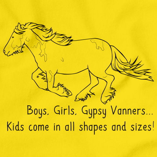 Boys, Girls, & Gypsy Vanners = Kids | Horse Lover Yellow art preview