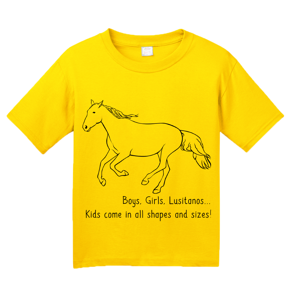 Youth Yellow Boys, Girls, & Lusitanos = Kids - Horse Lover Family Lusitanos T-shirt