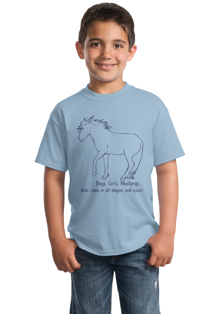 Youth Light Blue Boys, Girls, & Mustangs = Kids - Horse Lover Family Mustang Cute T-shirt