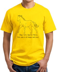 Standard Yellow Boys, Girls, & Quarter Horses = Kids - Quarter Horse Family Love T-shirt