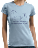 Ladies Light Blue Boys, Girls, & Thoroughbreds = Kids - Horse Lover Thoroughbred T-shirt