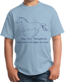 Youth Light Blue Boys, Girls, & Thoroughbreds = Kids - Horse Lover Thoroughbred T-shirt