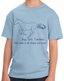 Youth Light Blue Boys, Girls, & Trakehners = Kids - Horse Lover Trakehner Family T-shirt
