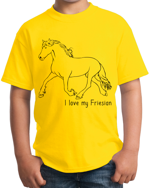 Youth Yellow I Love my Friesian - Horse Lover Friesian Breed Cute Unique T-shirt