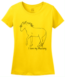 Ladies Yellow I Love my Mustang - Horse Lover Mustang Breed Cute Gift T-shirt