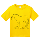 Youth Yellow I Love my Shetland Pony - Horse Lover Shetland Pony Cute Fun T-shirt
