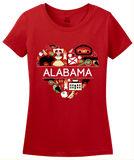 Ladies Red Alabama Love - Cute Alabama Heritage Culture Pride Fun Symbols T-shirt