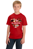 Youth Red Alabama Love - Cute Alabama Heritage Culture Pride Fun Symbols T-shirt