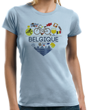 Ladies Light Blue Belgique Love - Belgian Pride Culture Belgique Cute Icons T-shirt