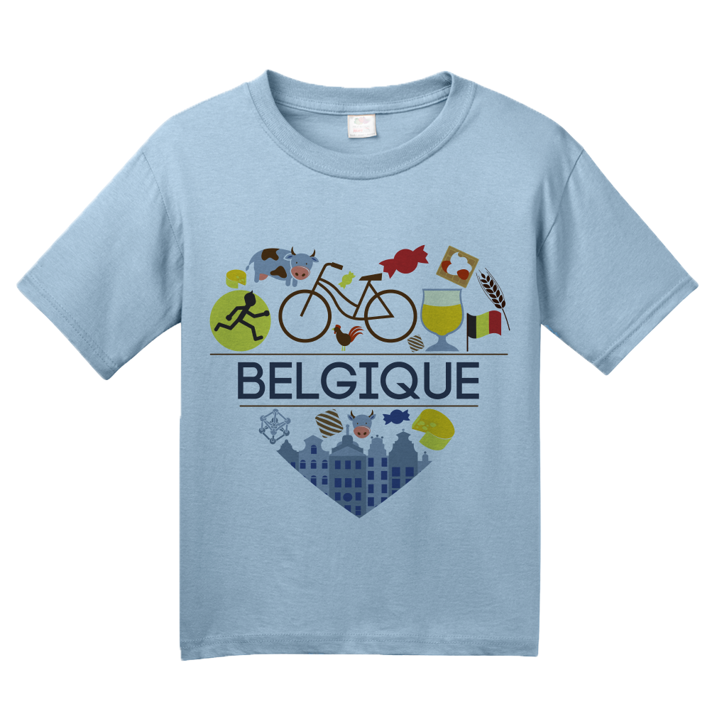 Youth Light Blue Belgique Love - Belgian Pride Culture Belgique Cute Icons T-shirt