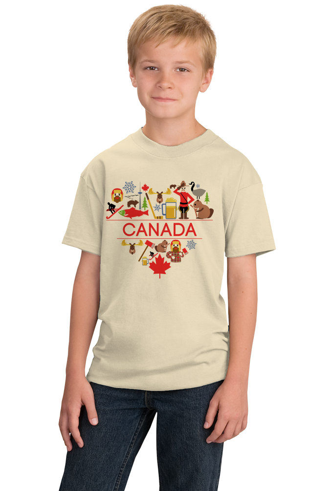 Youth Natural Canada Love- Canadian Pride Culture Heritage Cute Symbols Gift T-shirt
