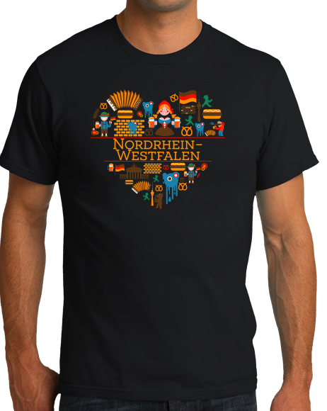 Standard Black Germany Love: Nordrhein Westfalen - German Culture Cute Heritage T-shirt