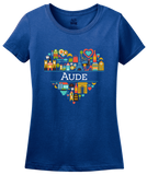 Ladies Royal France Love: Aude - French Pride Culture Heritage Cute Heart T-shirt