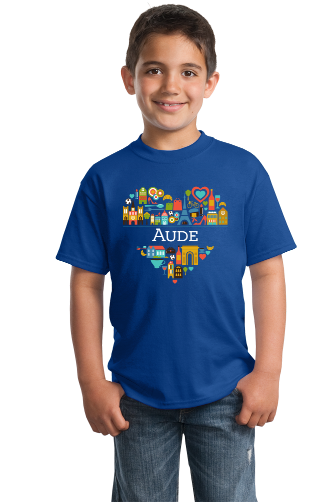 Youth Royal France Love: Aude - French Pride Culture Heritage Cute Heart T-shirt
