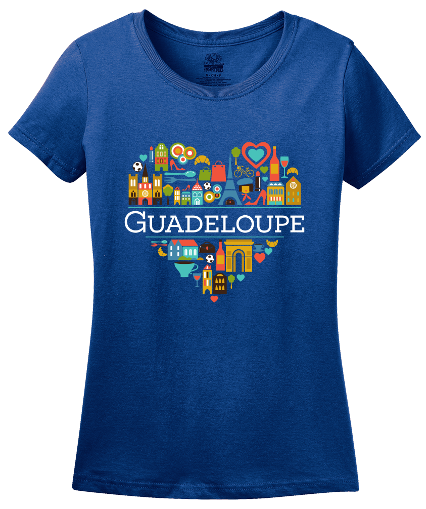 Ladies Royal France Love: Guadeloupe - French Heritage Cute Heart Pride T-shirt