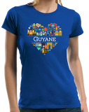 Ladies Royal France Love: Guyane - French Heritage Cute Heart Pride Icons T-shirt