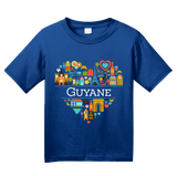 Youth Royal France Love: Guyane - French Heritage Cute Heart Pride Icons T-shirt