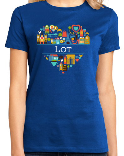 Ladies Royal France Love: Lot - French Geography Cute Cahors Icons Heart T-shirt