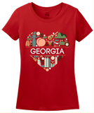 Ladies Red Georgia Love - Georgia Love On My Mind Peachtree State Cute T-shirt