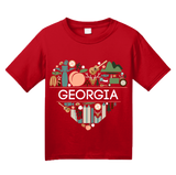 Youth Red Georgia Love - Georgia Love On My Mind Peachtree State Cute T-shirt