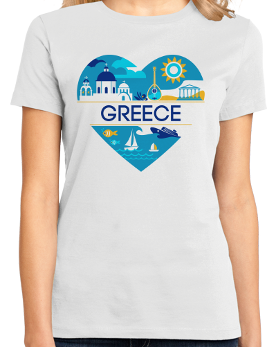 Ladies White Greece Love - Greek Heritage History Culture Pride Ancient Cute T-shirt