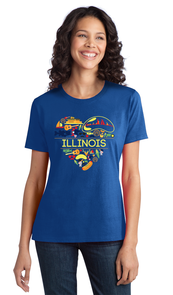 Ladies Royal Illinois Love - Illinois Chicago Native Home Heart Cute T-shirt